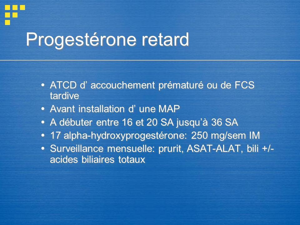 Progestérone retard ATCD d' accouchement prématuré ou de FCS tardive