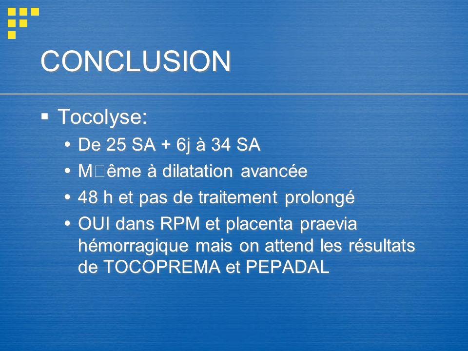 CONCLUSION Tocolyse: De 25 SA + 6j à 34 SA Même à dilatation avancée