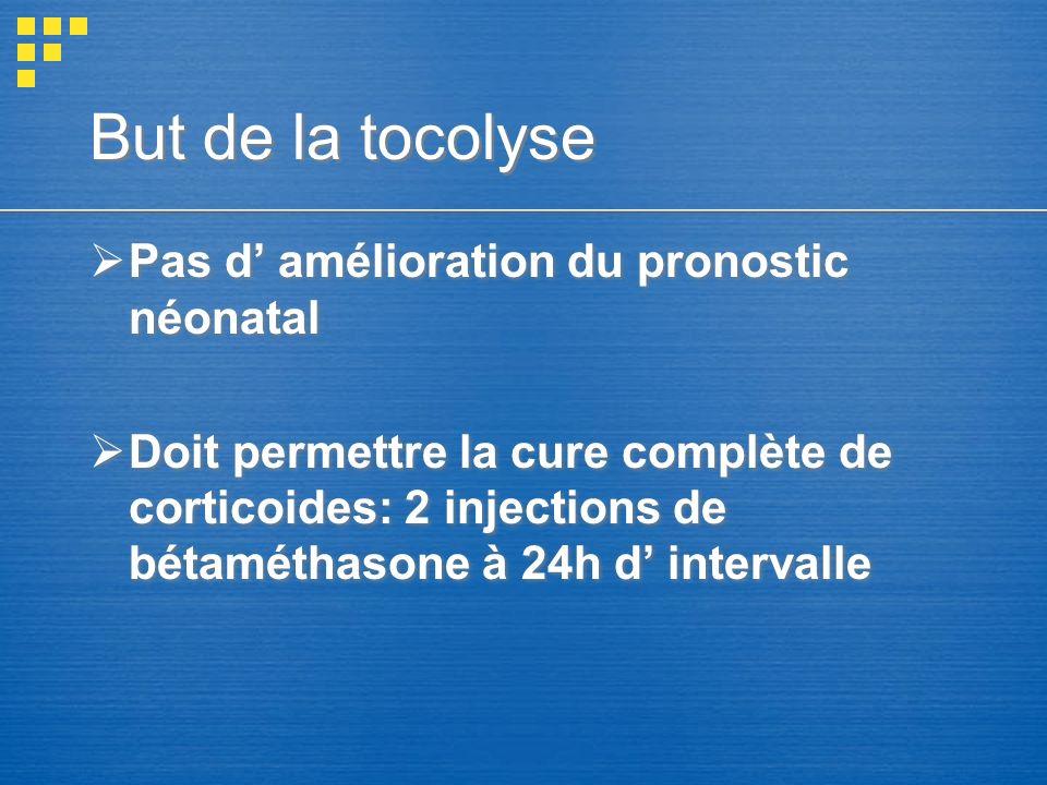 But de la tocolyse Pas d' amélioration du pronostic néonatal