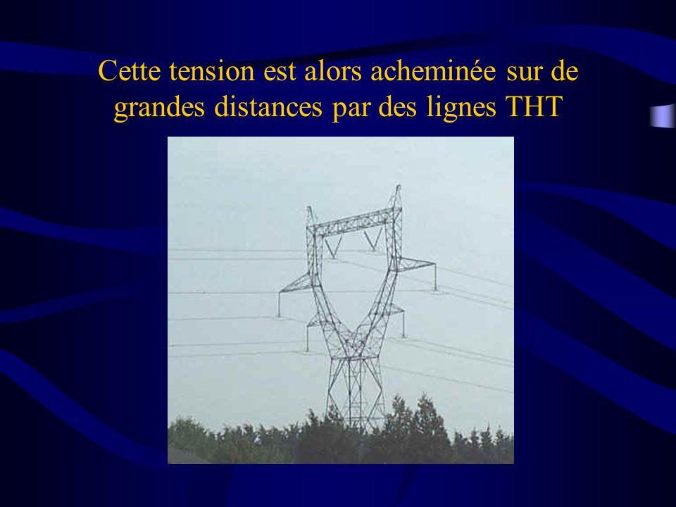 Cette tension est alors acheminée sur de grandes distances par des lignes THT
