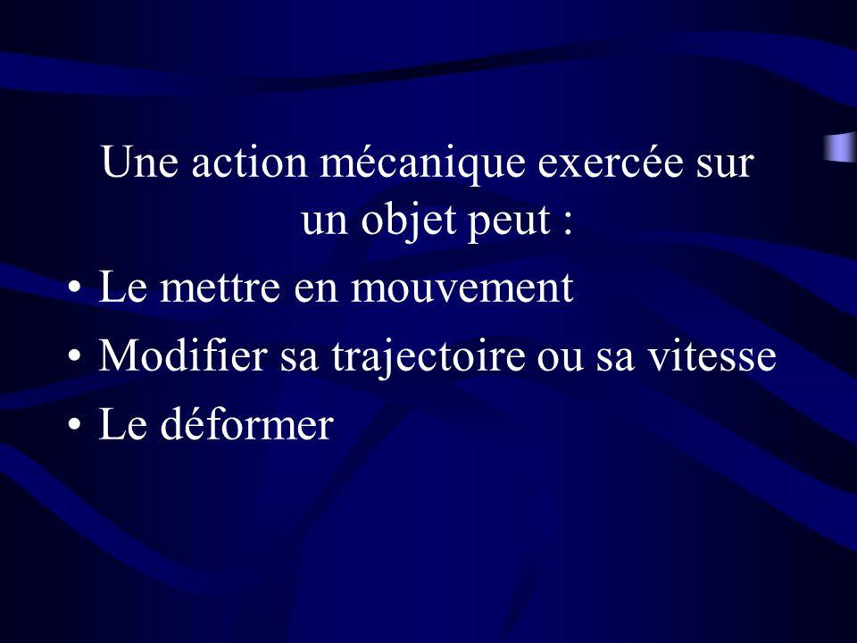 Une action mécanique exercée sur un objet peut :