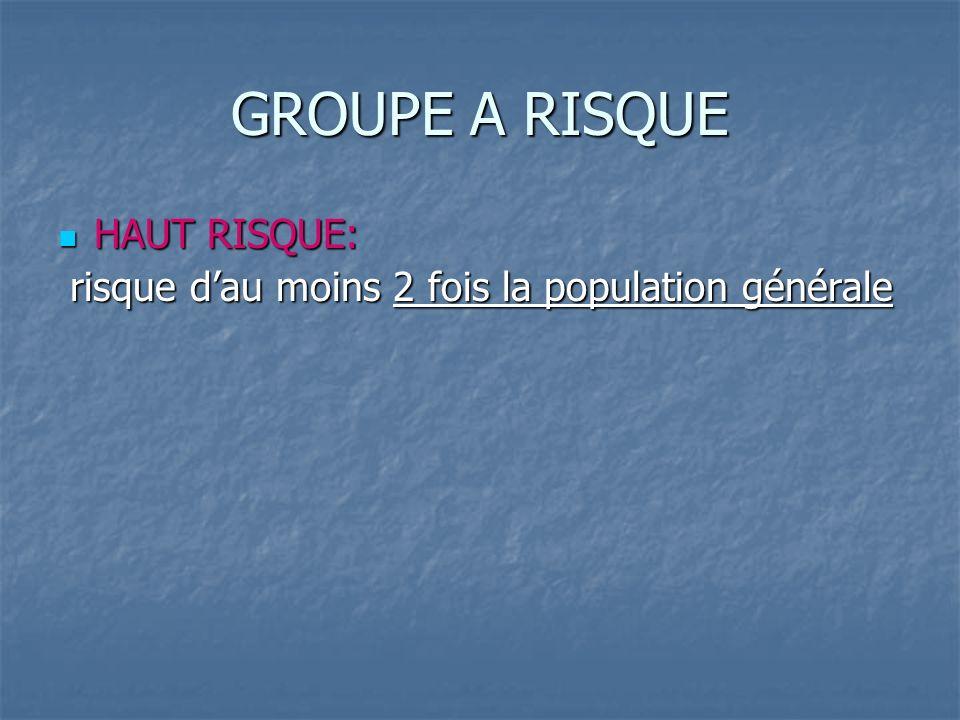 GROUPE A RISQUE HAUT RISQUE: