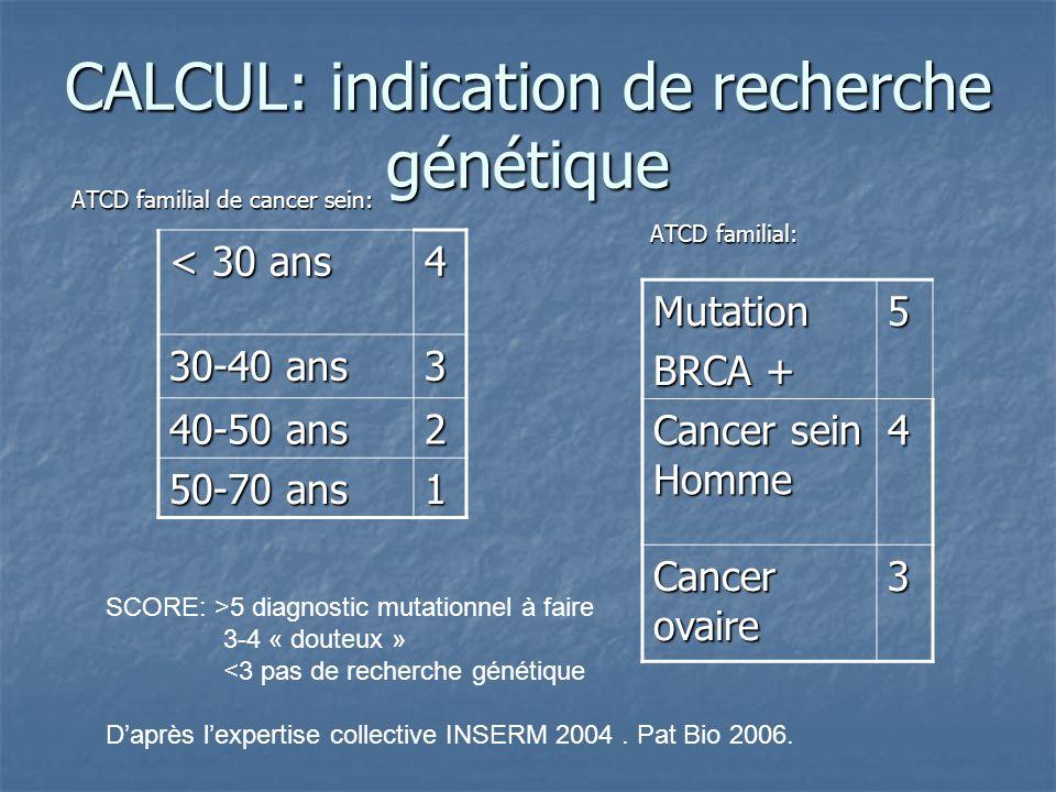 CALCUL: indication de recherche génétique