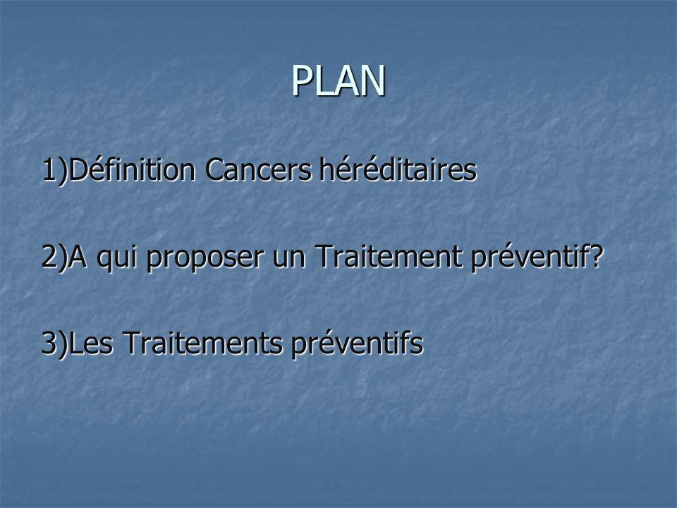 PLAN 1)Définition Cancers héréditaires 2)A qui proposer un Traitement préventif.
