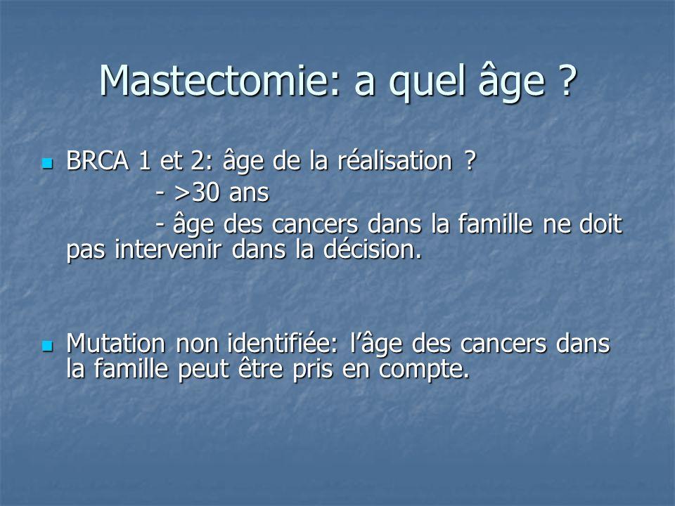 Mastectomie: a quel âge