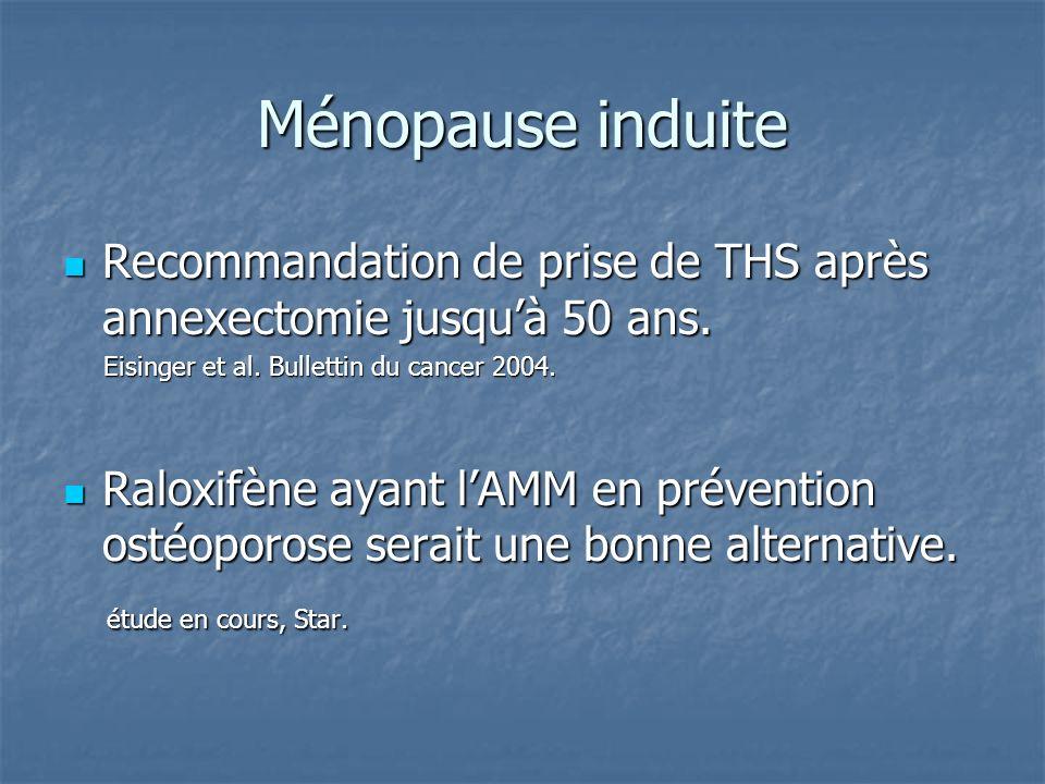 Ménopause induite Recommandation de prise de THS après annexectomie jusqu'à 50 ans. Eisinger et al. Bullettin du cancer 2004.