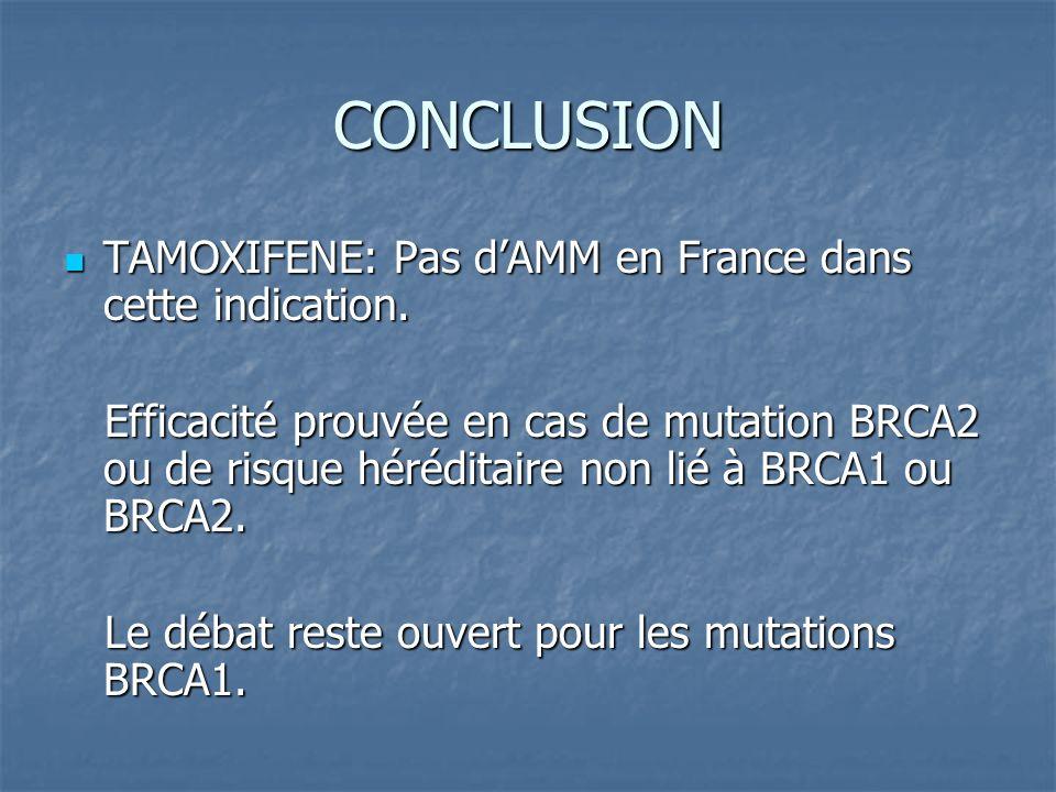 CONCLUSION TAMOXIFENE: Pas d'AMM en France dans cette indication.