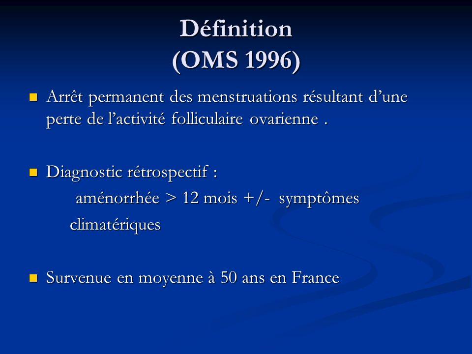 Définition (OMS 1996)Arrêt permanent des menstruations résultant d'une perte de l'activité folliculaire ovarienne .
