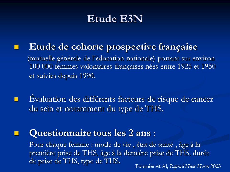 Etude E3N Etude de cohorte prospective française