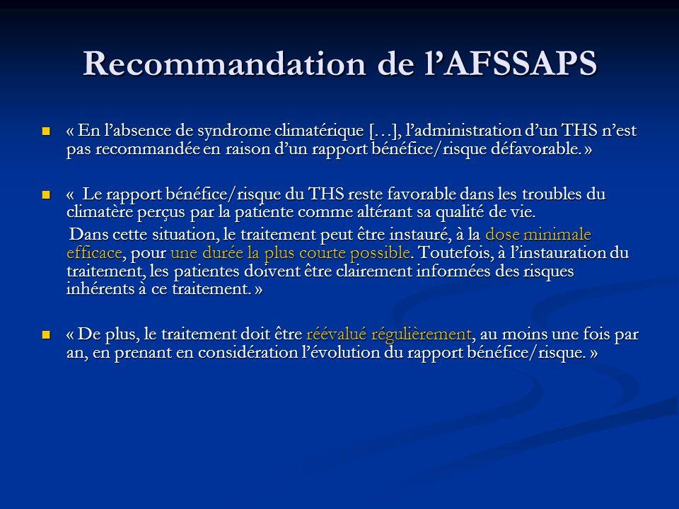 Recommandation de l'AFSSAPS