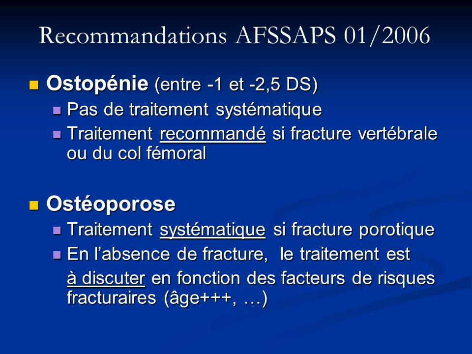 Recommandations AFSSAPS 01/2006