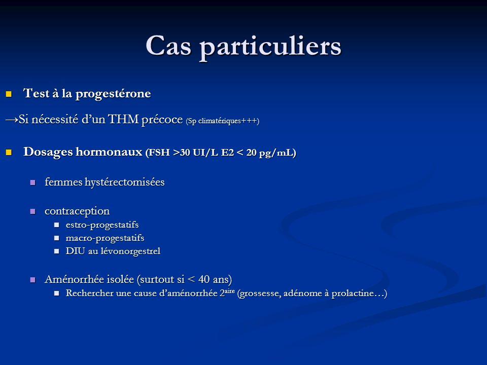 Cas particuliers Test à la progestérone