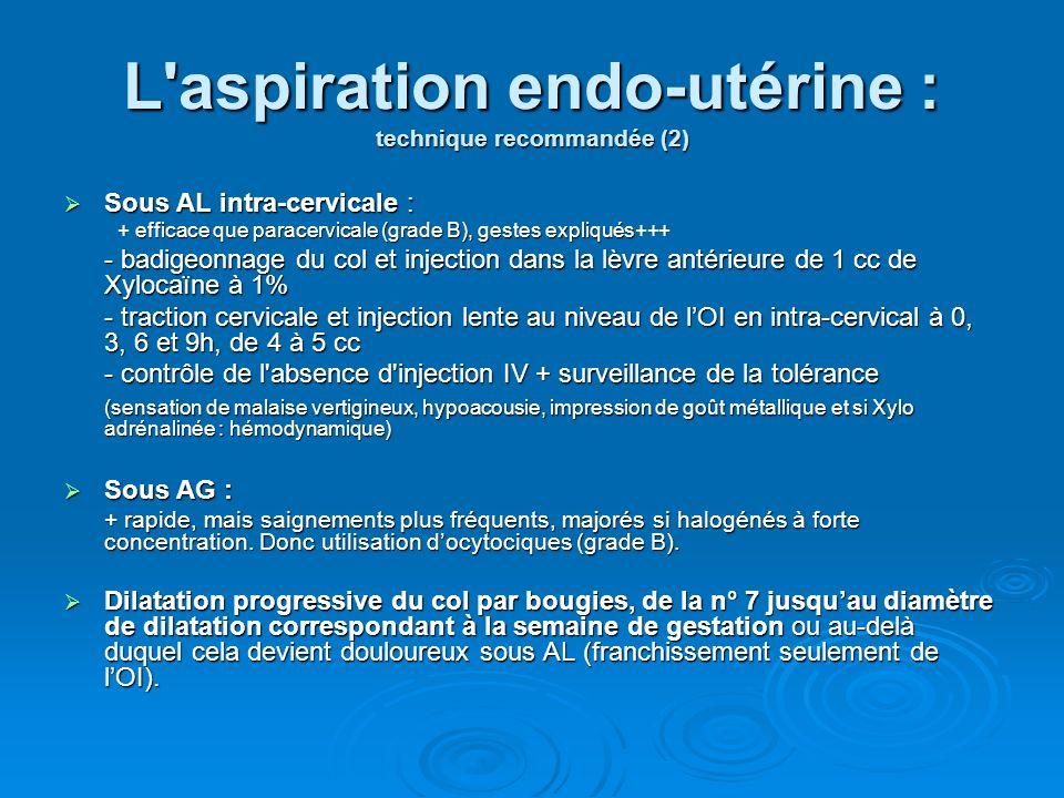 L aspiration endo-utérine : technique recommandée (2)