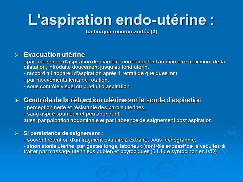 L aspiration endo-utérine : technique recommandée (3)