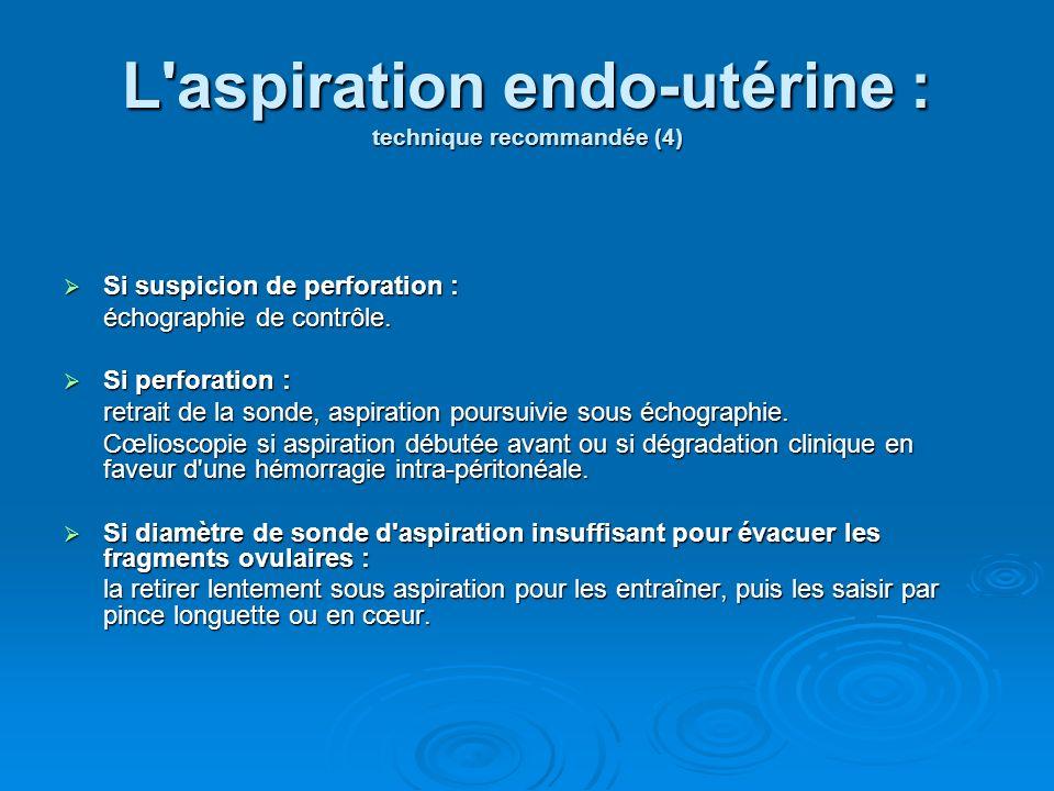 L aspiration endo-utérine : technique recommandée (4)