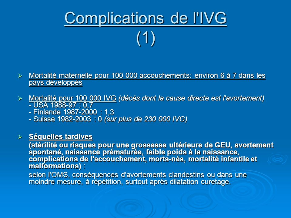 Complications de l IVG (1)