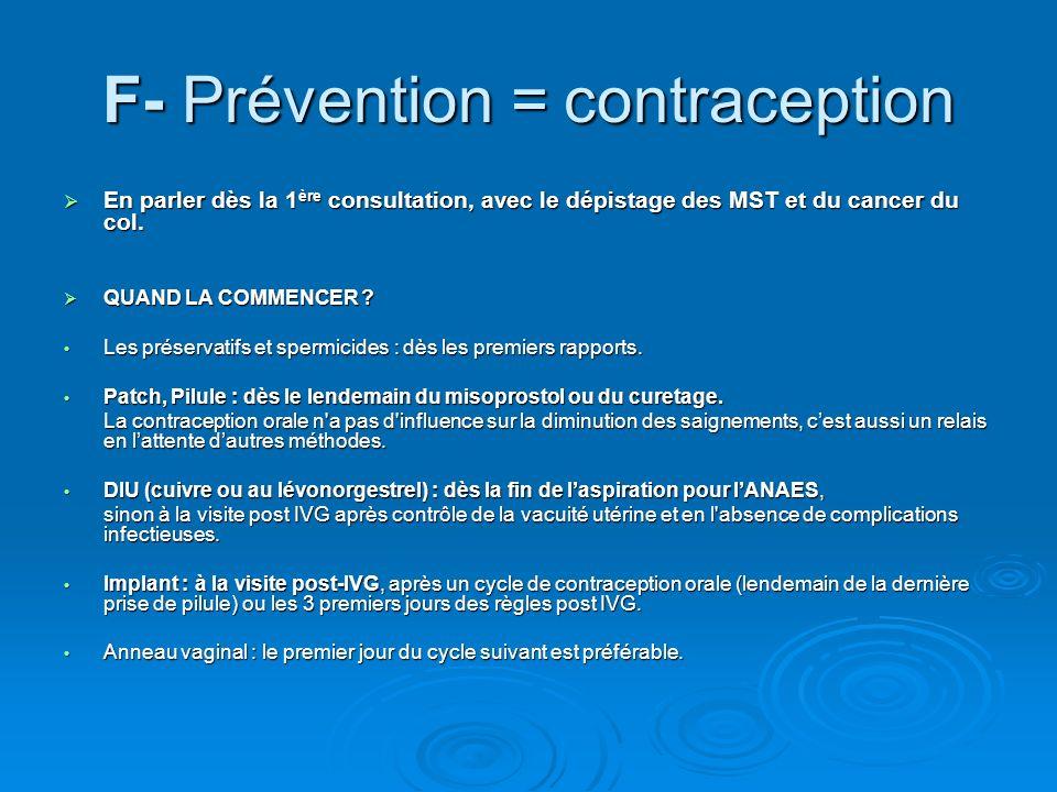 F- Prévention = contraception