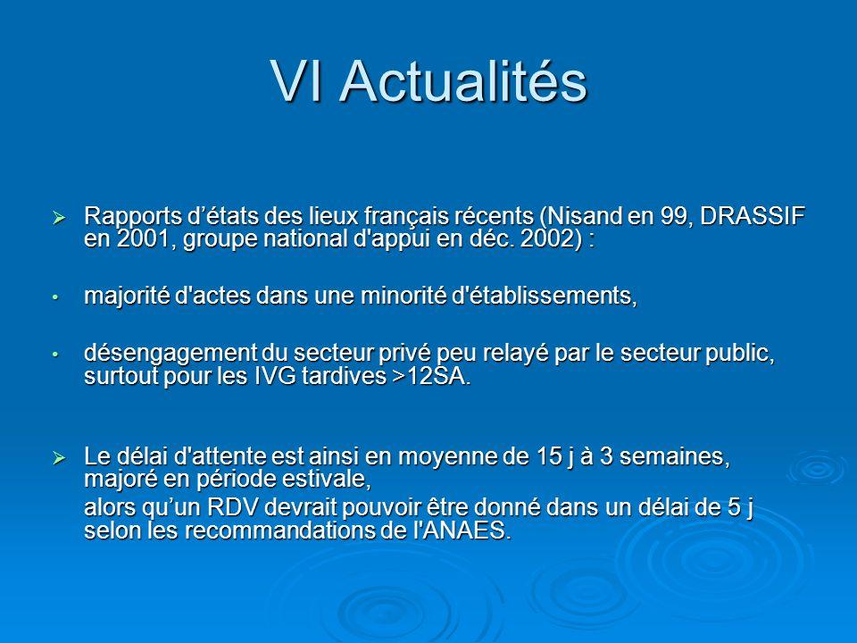 VI Actualités Rapports d'états des lieux français récents (Nisand en 99, DRASSIF en 2001, groupe national d appui en déc. 2002) :