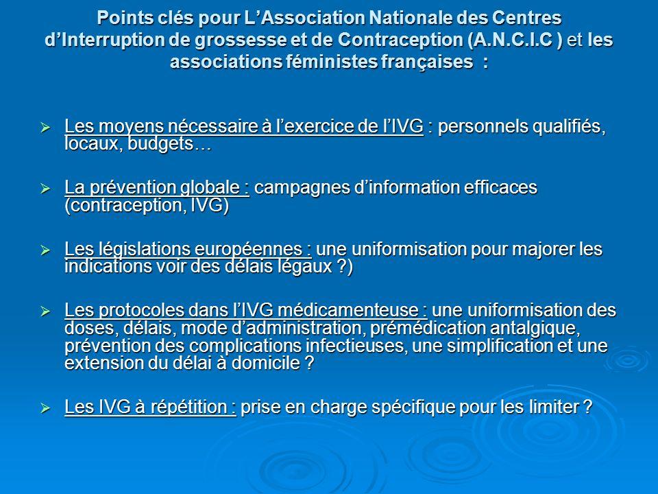 Points clés pour L'Association Nationale des Centres d'Interruption de grossesse et de Contraception (A.N.C.I.C ) et les associations féministes françaises :