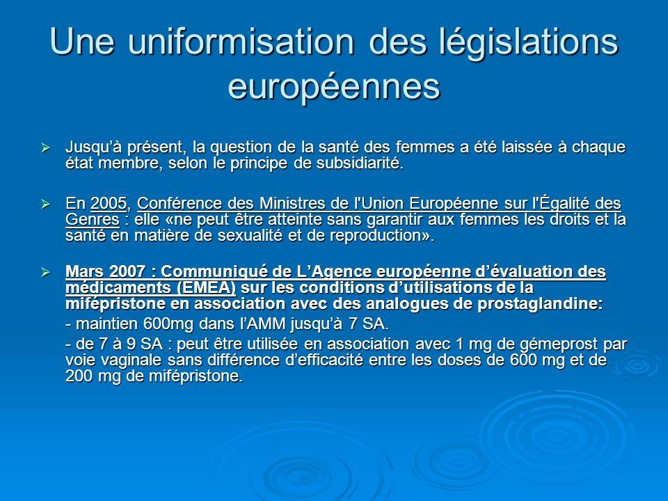 Une uniformisation des législations européennes