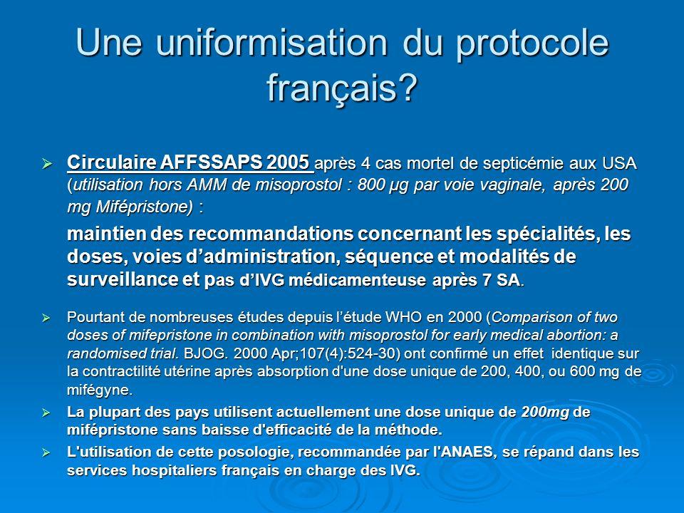 Une uniformisation du protocole français