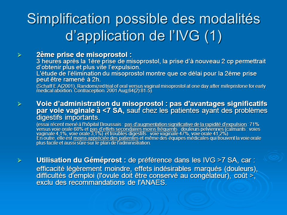 Simplification possible des modalités d'application de l'IVG (1)