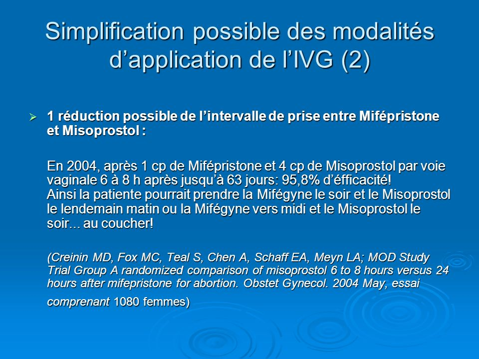 Simplification possible des modalités d'application de l'IVG (2)