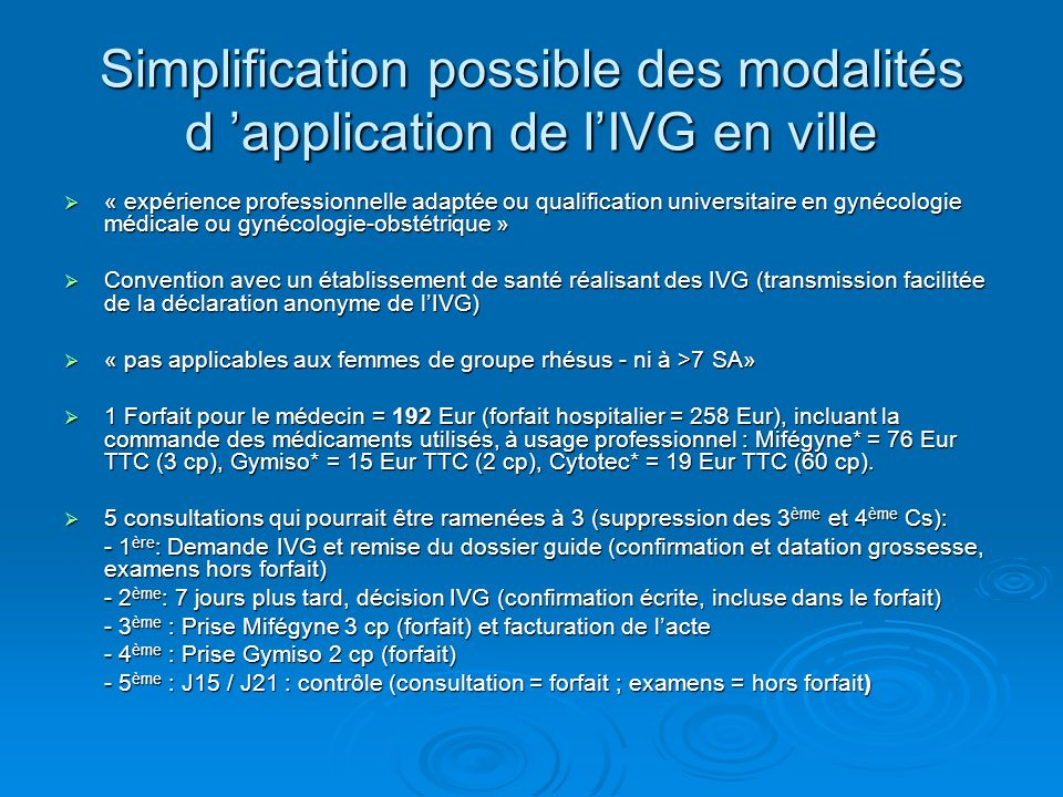 Simplification possible des modalités d 'application de l'IVG en ville