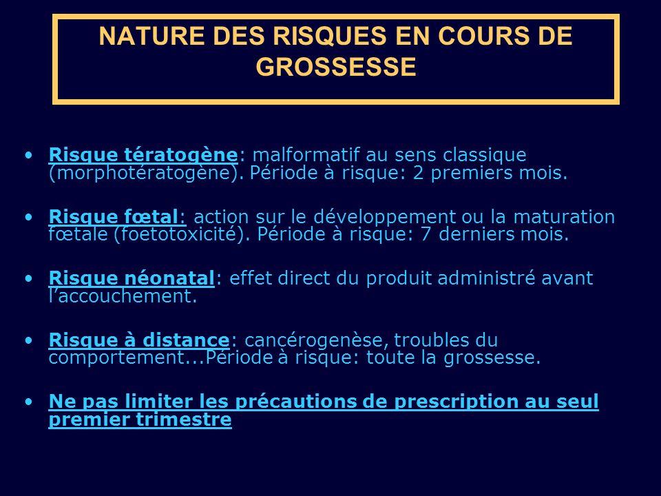 NATURE DES RISQUES EN COURS DE GROSSESSE