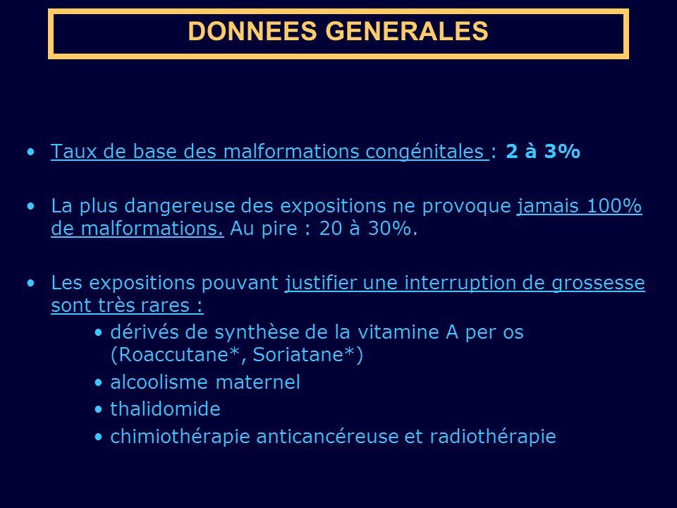 DONNEES GENERALES Taux de base des malformations congénitales : 2 à 3%