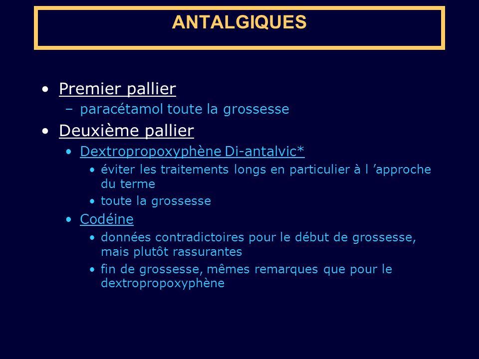 ANTALGIQUES Premier pallier Deuxième pallier