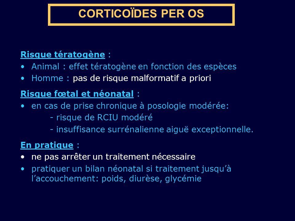 CORTICOÏDES PER OS Risque tératogène :