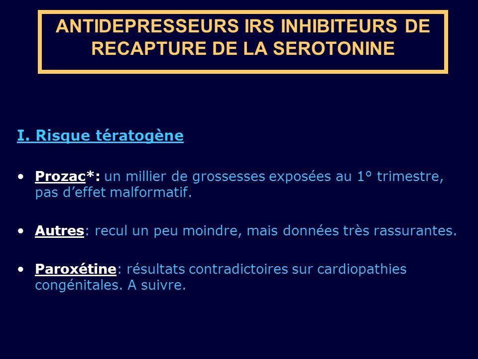 ANTIDEPRESSEURS IRS INHIBITEURS DE RECAPTURE DE LA SEROTONINE