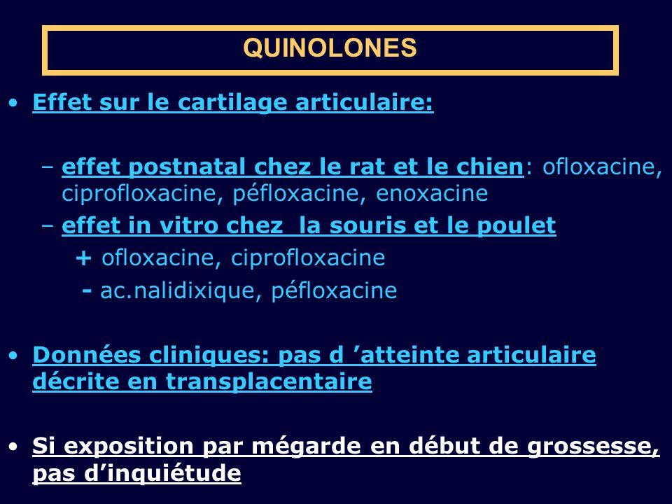 QUINOLONES Effet sur le cartilage articulaire: