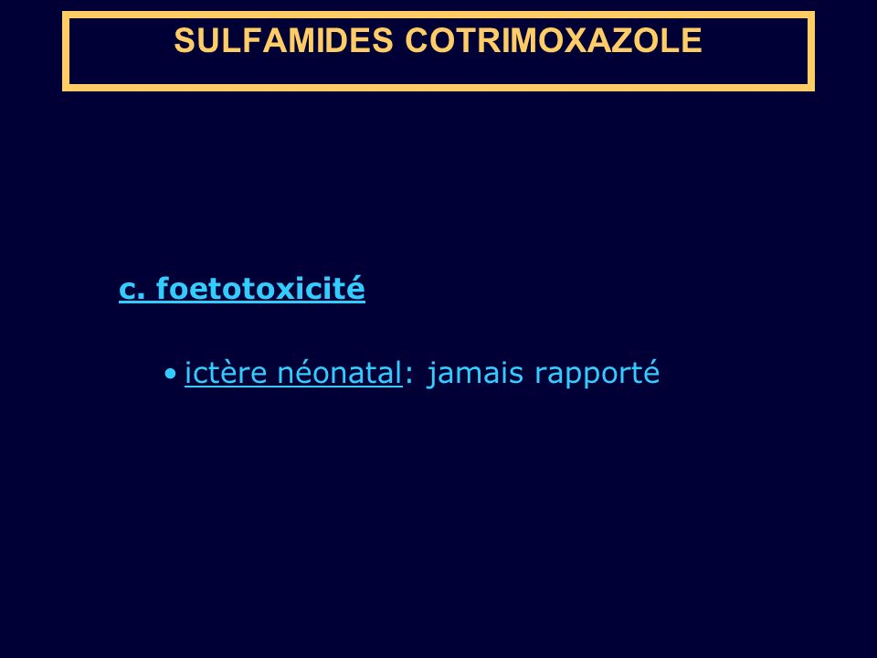 SULFAMIDES COTRIMOXAZOLE