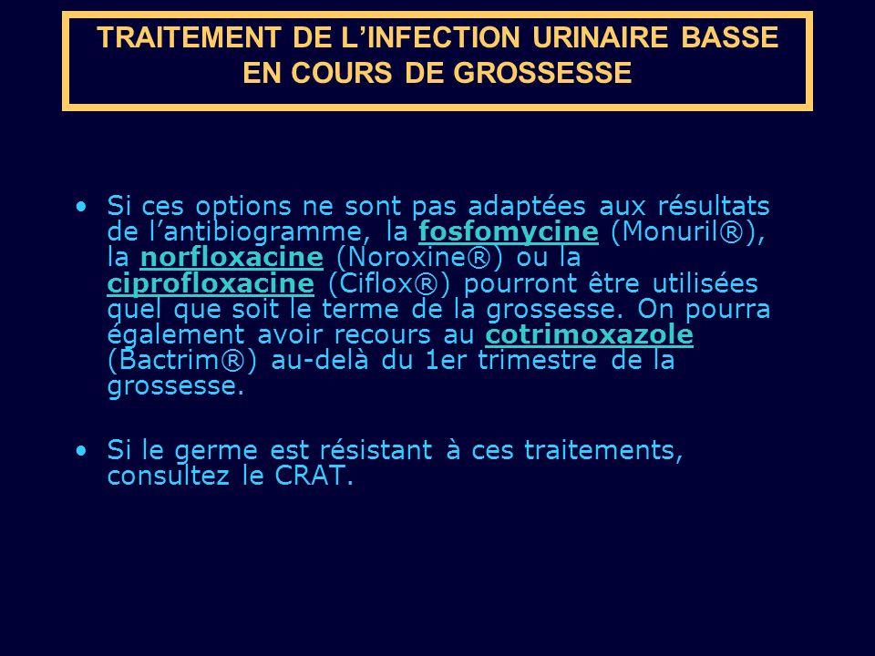 TRAITEMENT DE L'INFECTION URINAIRE BASSE EN COURS DE GROSSESSE