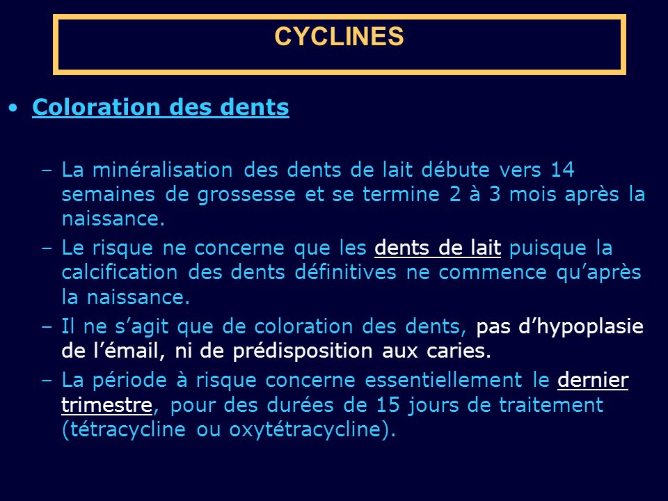 CYCLINES Coloration des dents