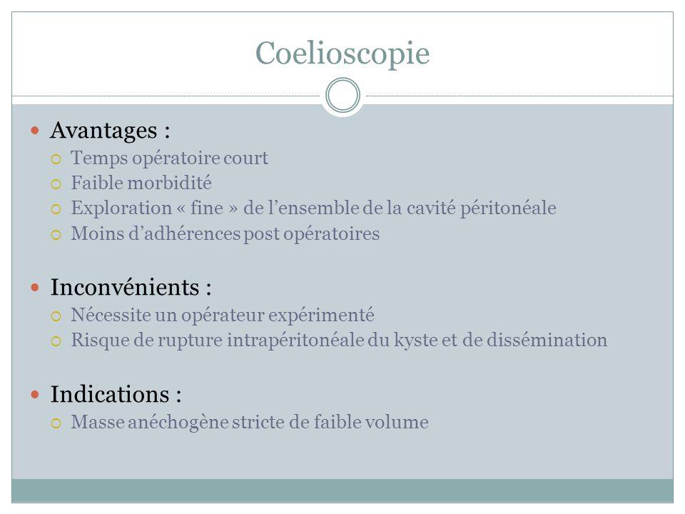 Coelioscopie Avantages : Inconvénients : Indications :