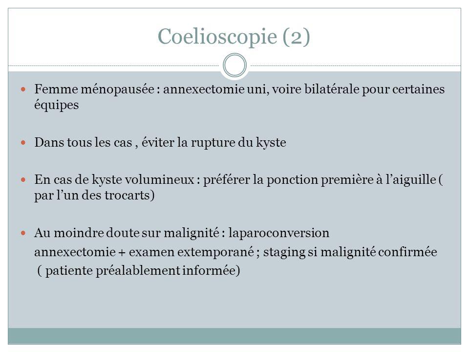 Coelioscopie (2) Femme ménopausée : annexectomie uni, voire bilatérale pour certaines équipes. Dans tous les cas , éviter la rupture du kyste.