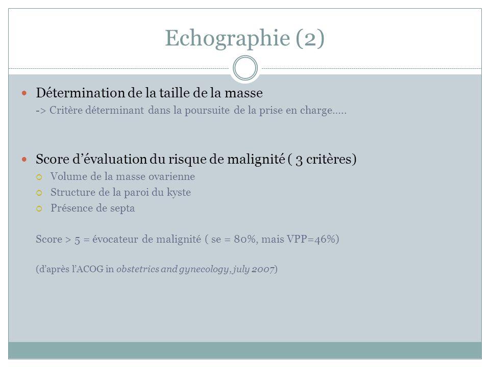 Echographie (2) Détermination de la taille de la masse