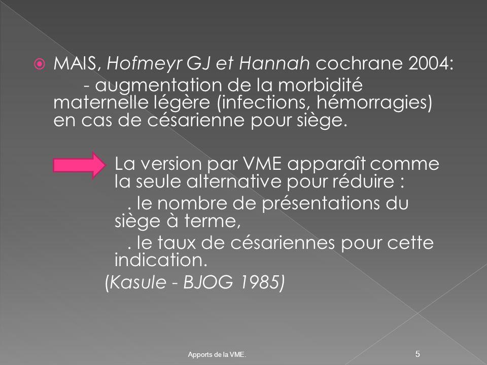 MAIS, Hofmeyr GJ et Hannah cochrane 2004: