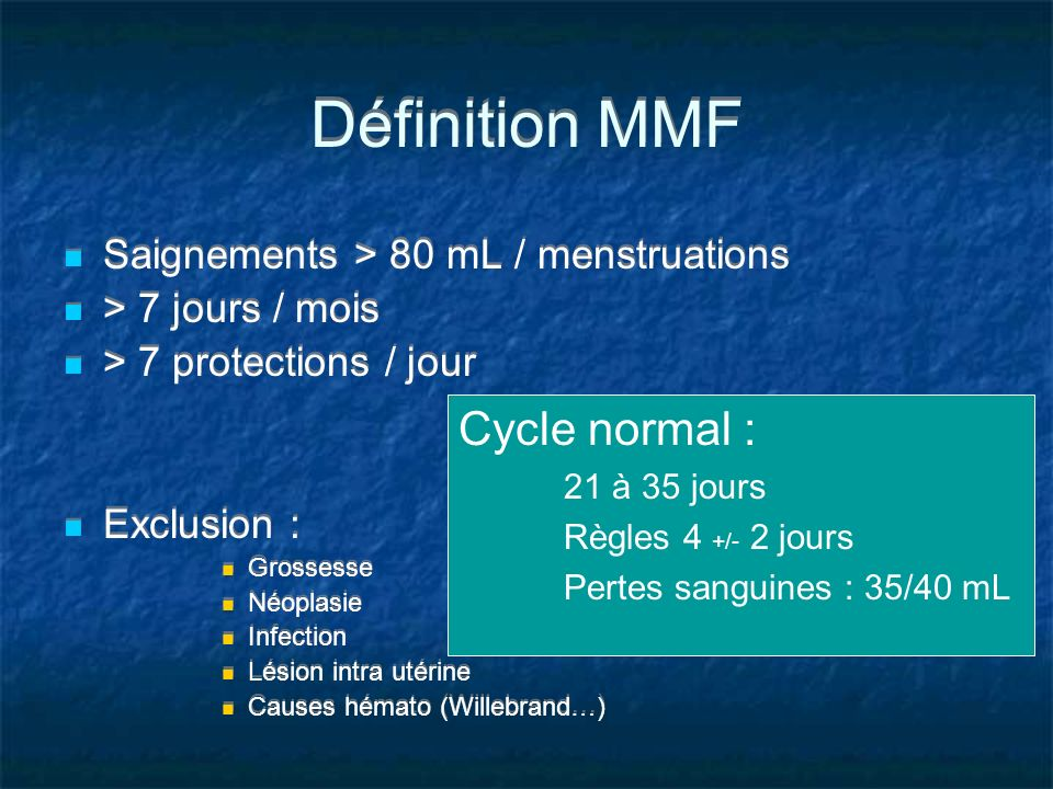 Définition MMF Cycle normal : Saignements > 80 mL / menstruations