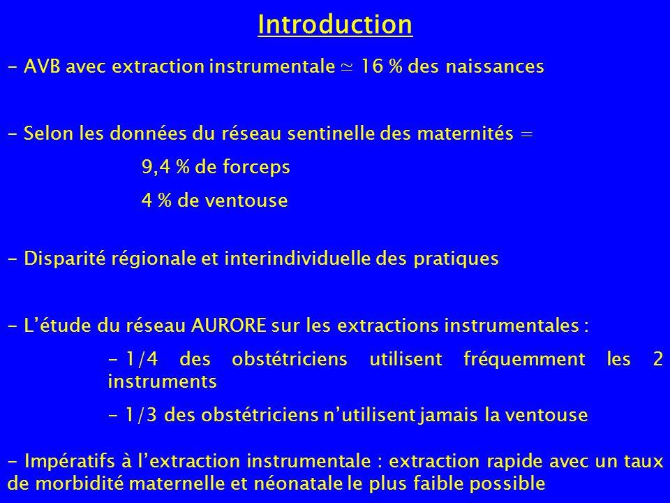 Introduction AVB avec extraction instrumentale ≃ 16 % des naissances