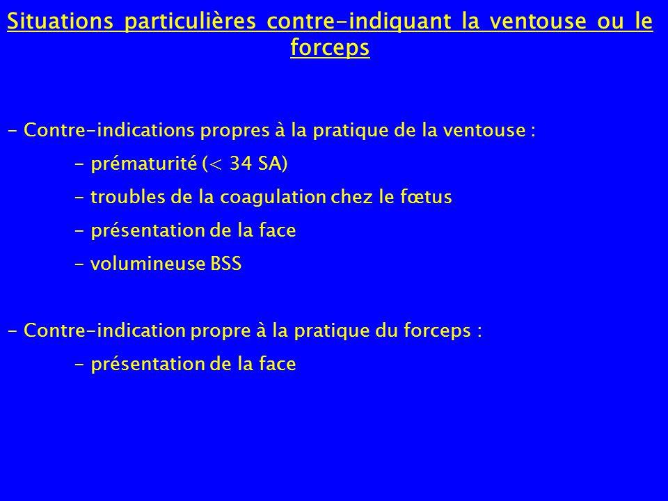 Situations particulières contre-indiquant la ventouse ou le forceps