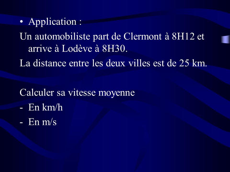 Application : Un automobiliste part de Clermont à 8H12 et arrive à Lodève à 8H30. La distance entre les deux villes est de 25 km.