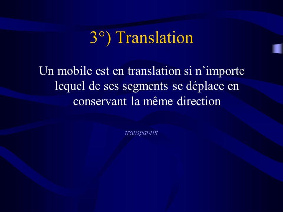 3°) Translation Un mobile est en translation si n'importe lequel de ses segments se déplace en conservant la même direction.