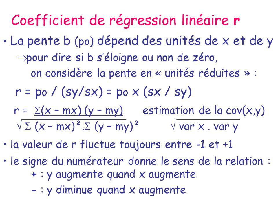 Coefficient de régression linéaire r