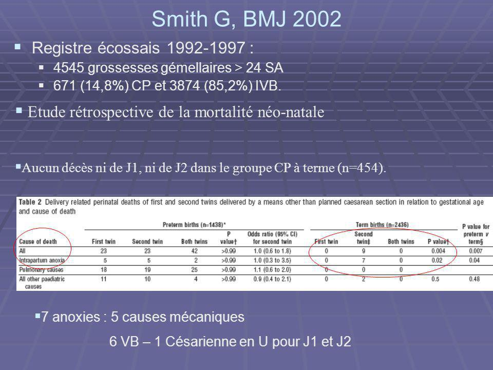 Smith G, BMJ 2002 Registre écossais 1992-1997 :