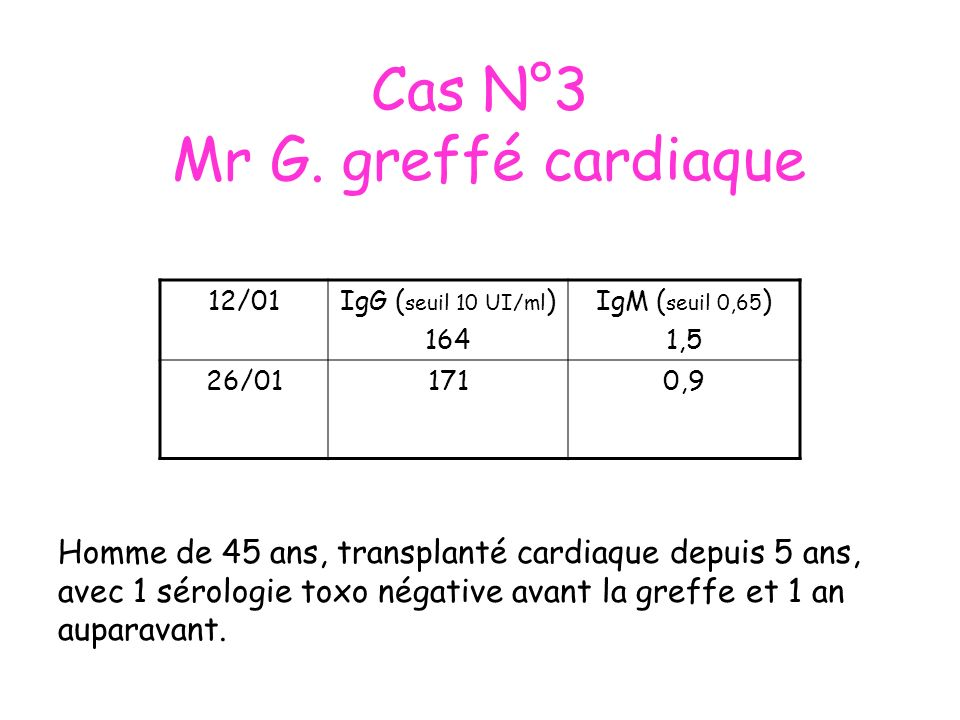 Cas N°3 Mr G. greffé cardiaque