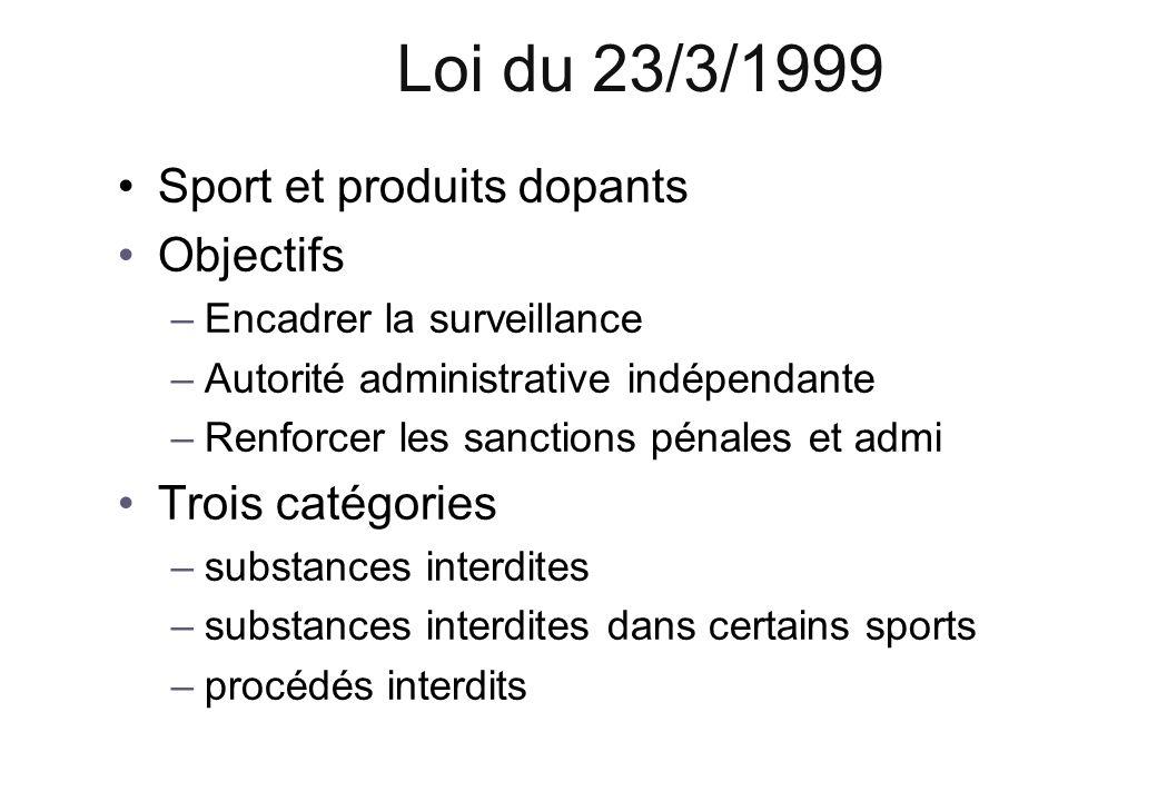 Loi du 23/3/1999 Sport et produits dopants Objectifs Trois catégories